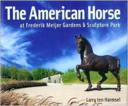 """Frederik Meijer Gardens - Grand Rapids, Michigan * The 158 acre Frederik Meijer Gardens holds the largest collection of outdoor sculpture in the American Midwest.  Among the many highlights is the 24 foot high """"The American Horse"""" by Nina Akamu, inspired by an unfinished sculpture made by Leonardo da Vanci and commissioned by the Duke of Milan (a 2nd one, made a bronze foundry in the small town of Beacon, NY, was gifted to the city of Milan, Italy)."""