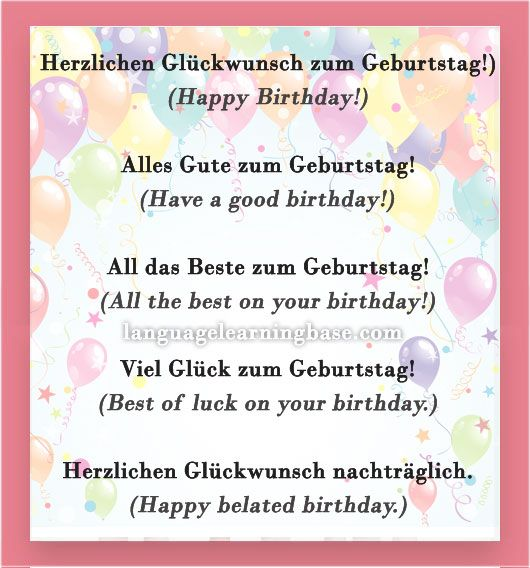 How To Say Happy Birthday In German And Other Greetings Learn German Communication Vocabulary German G Happy Birthday In German Learn German German Language