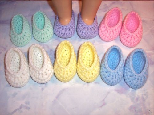 6 Pairs Of Crochet Shoes For The American Girl Doll