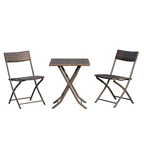 Outsunny Ensemble Meubles De Jardin Design Table Carre Et Chaises Pliables Resine Tressee Imitation Rotin Marron Meubles De Jardin Design Table De Balcon