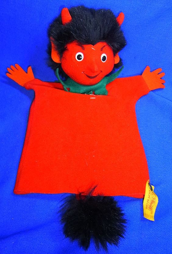 Modern Stuffed Animal Steiff Toy Devil / Crampus Hand Puppet with Button #^B37