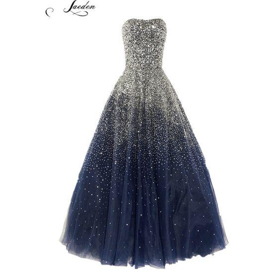 L295 mode bleu noir perles luxuru longues robes de soirée 2015 femmes formelles du parti de bal robes taille personnalisée , plus la taille dans Robes de soirée de Mariages et événements sur AliExpress.com Alibaba Group