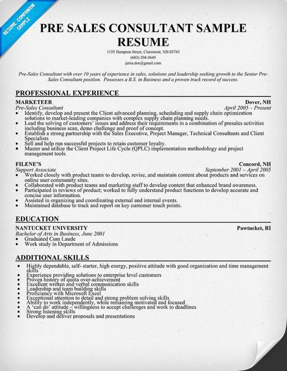 Pre #Sales Consultant Resume Sample (resumecompanion.com) | Resume Samples  Across All Industries | Pinterest