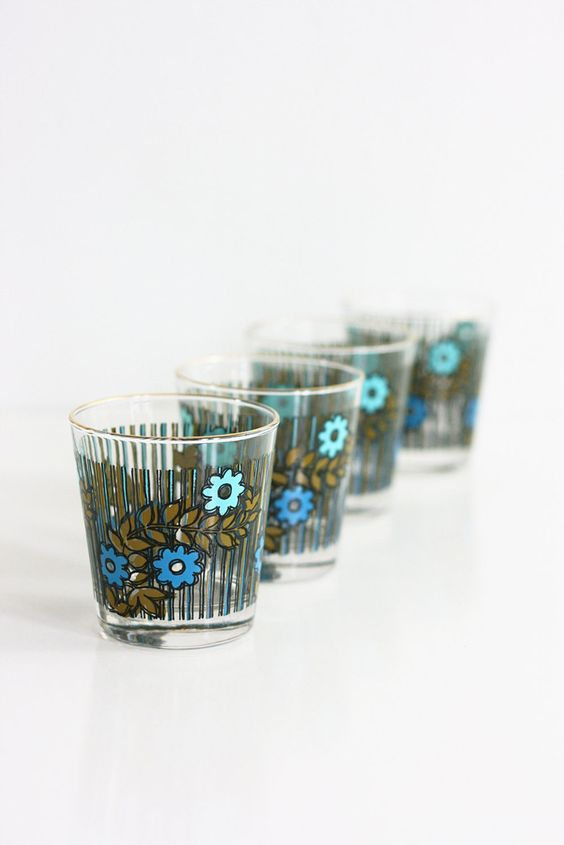 Vintage Mid Century Modern Colorful Flower Drinking Glasses