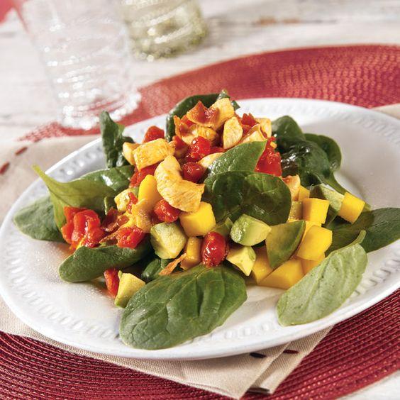 Chicken, Spinach and Mango Salad with Warm Tomato Vinaigrette Recipe