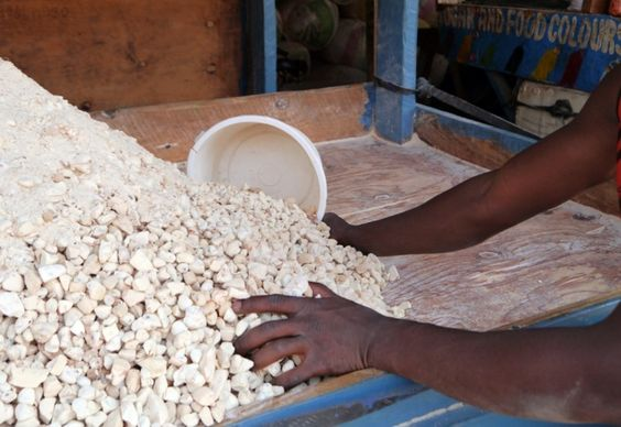 A market trader in Lilongwe scoops up a handful of baobab pulp. The sour fruit is used to flavour soft drinks and ice lollies, and sprinkled over porridge
