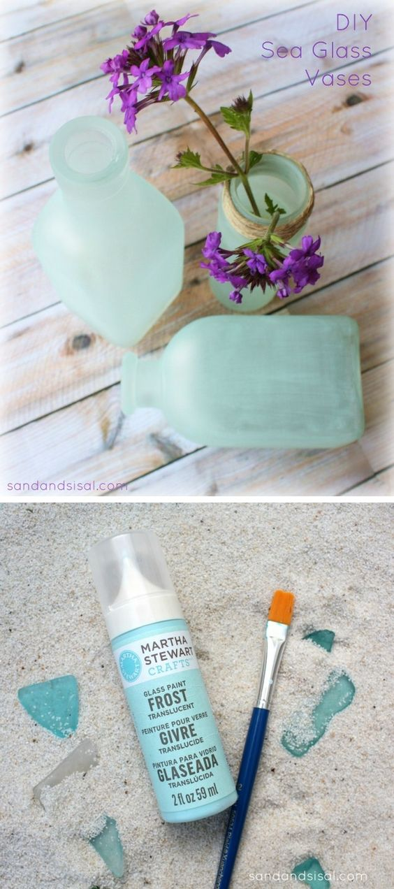 Diy Sea Glass Vases Jars Glass Vase And Paint Brushes