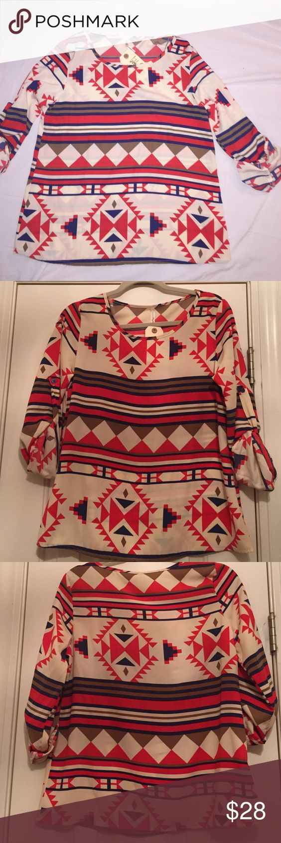 HP 8/24 💥New Aztec print blouse💥 Multi colored, great with jeans. New with tags! Libby Story Tops Blouses
