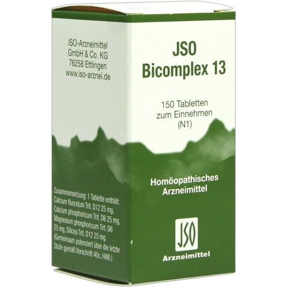 JSO BICOMPLEX Heilmittel Nr. 13:   Packungsinhalt: 150 St Tabletten PZN: 00544941 Hersteller: ISO-Arzneimittel GmbH & Co. KG Preis: 5,64…