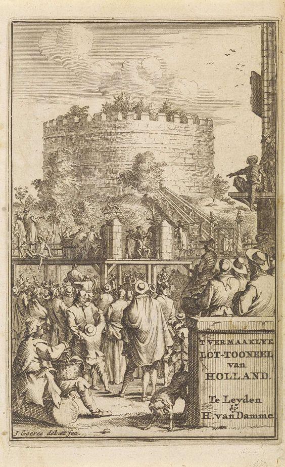 Jan Goeree | Loterijtrekking aan de voet van de Leidse Burcht, Jan Goeree, H. van Damme, 1705 | Een loterijtrekking aan de voet van de Leidse Burcht. Op een podium worden de loten getrokken en de spreuken opgezegd. Toeschouwers omringen het podium. Op de achtergrond de Leidse Burcht. Op de voorgrond een steen met de titel van het boekwerk.