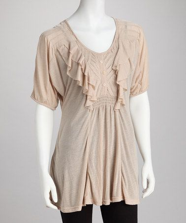 Take a look at this Khaki Ruffled Scoop Neck Top by MONORENO by Mür on #zulily today!