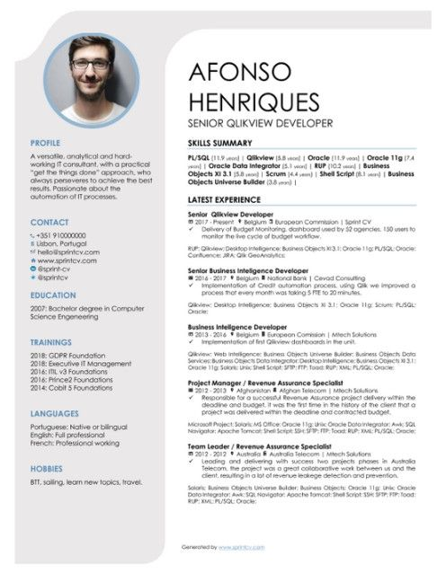 Which Cv Template Should An It Professional Use Sprint Cv In 2021 Cv Template Downloadable Resume Template Cv Template Download