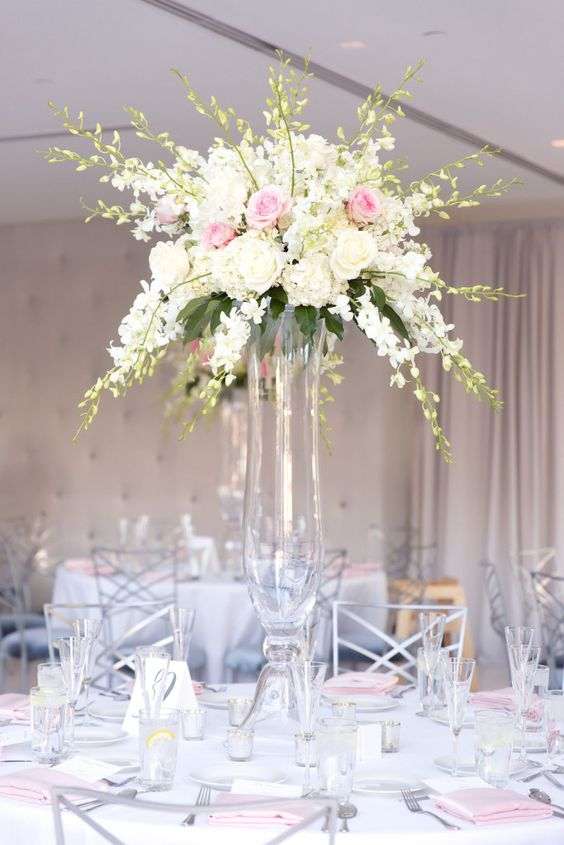 Blush lamour napkins with white dining table linens for for Wedding reception table linen ideas