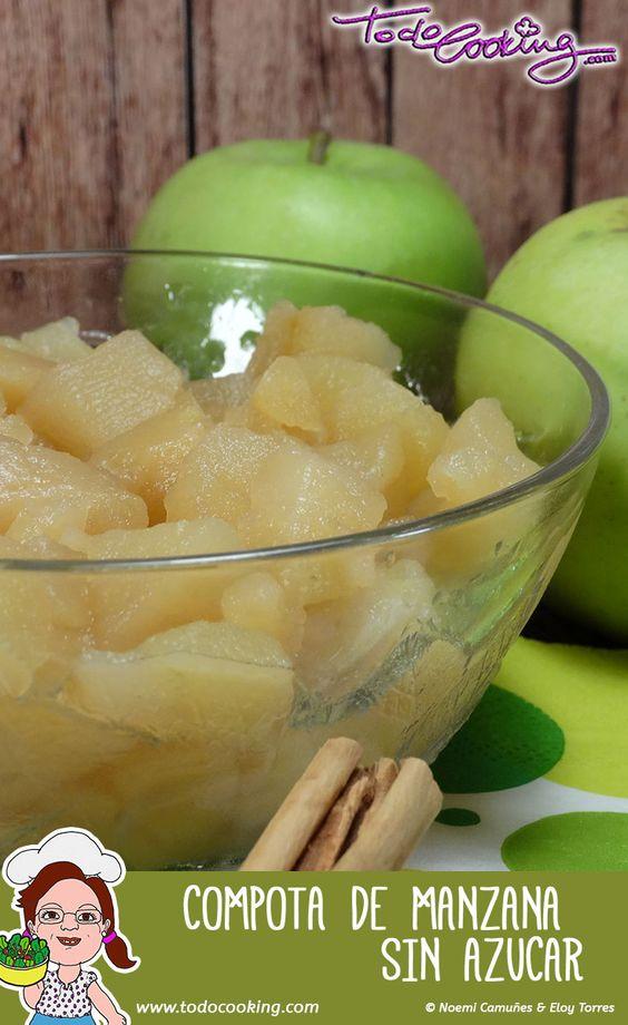 Receta casera y fácil de compota de manzana sin azúcar. Un postre delicioso muy digestivo ideal para los más pequeños de la casa. #receta #compota #manzana