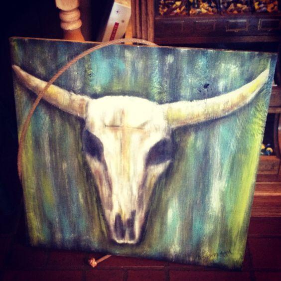 Cow Skull painted by Denise Sparkman in Vinita, OK | My ...