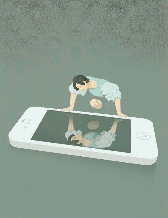 Social Media Narcissism Social, media, new, narcissism, Michelangelo, Merisi, Caravaggio, narciso, legend, canvas, mirror, iphone, danger, illustration, graphic, conceptual, ironic