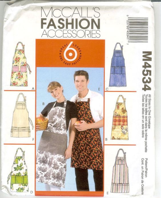 McCalls misses and men aprons sewing pattern M4534 | Pattern Stash ...