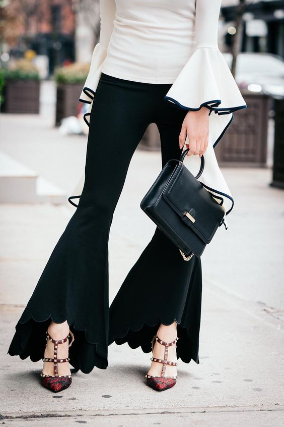 Go Big or Go Home: Flared Everything | Storets Gemma Flowy Top | Forever21 Flared Pants | Parisa NYC Hooked Lady Bag | Of Leather and Lace | A Fashion Blog by Tina Lee