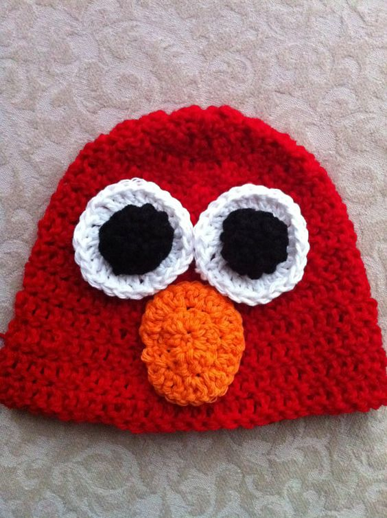 Elmo sesame street, Crochet beanie hat and Crochet hats on Pinterest