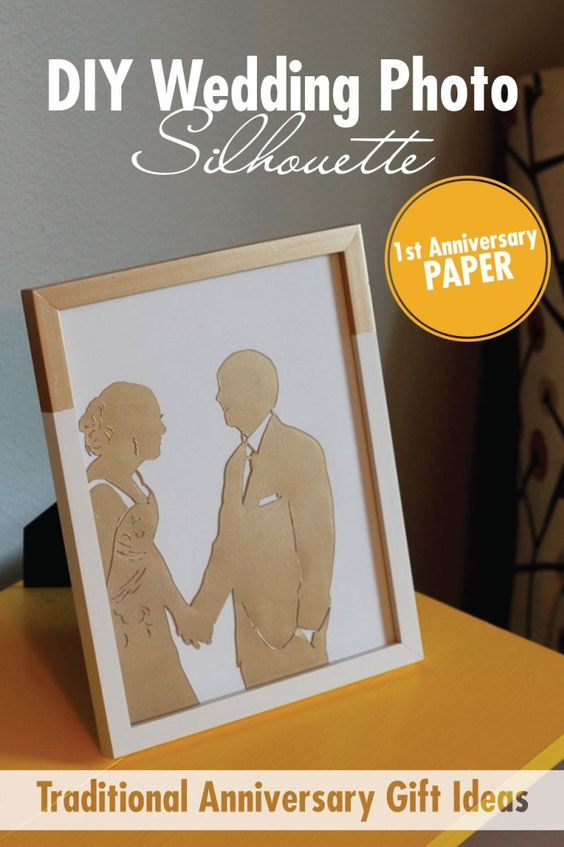 Diy wedding picture silhouette traditional first for Traditional 1st anniversary gifts for her