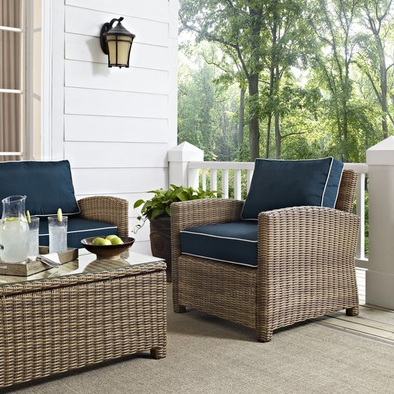 Bradenton Outdoor Wicker Arm Chair with Navy Cushion By Crosley: