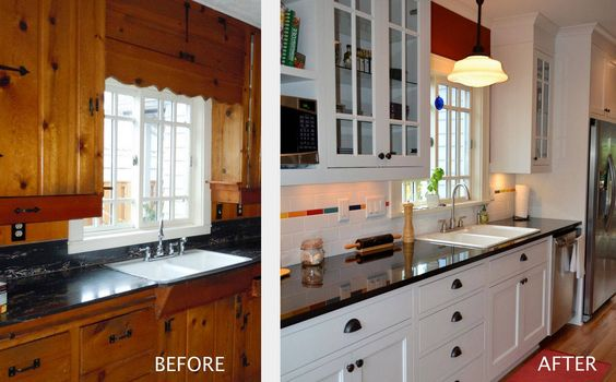 kitchen remodels before and after pictures | Before and After Kitchen Remodel: Eradicate Knotty Pine Cabinets