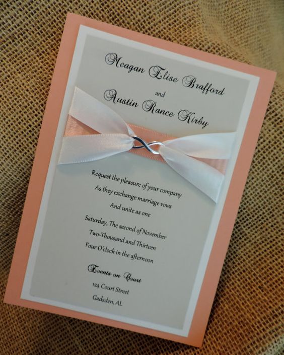 Coral and Gray Infinity Wedding Invitations with by YESInvitations