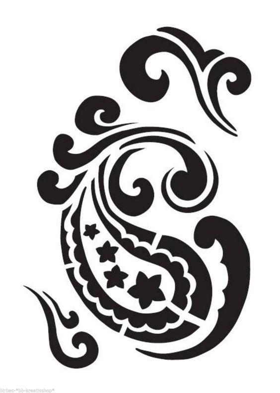 UNIVERSAL Schablone VIVA DECOR Stencil Textil Wand Retro Blüten PAISLEY | eBay
