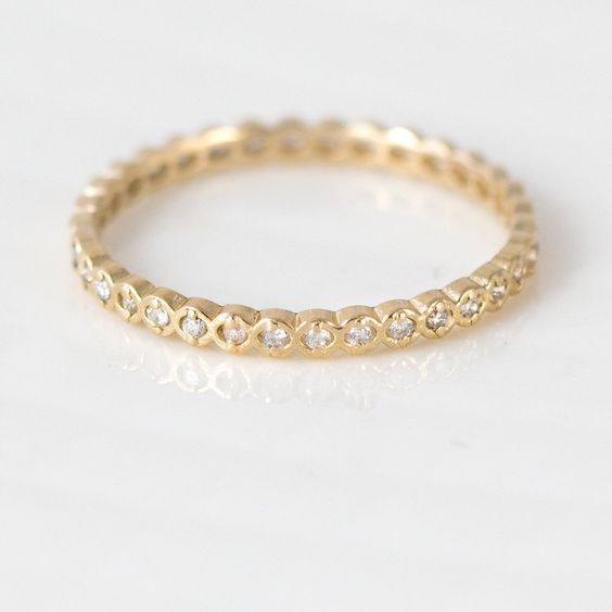 Tiny White Diamond Open Bead Wedding Band with Open Scalloped Edges by Melanie Casey