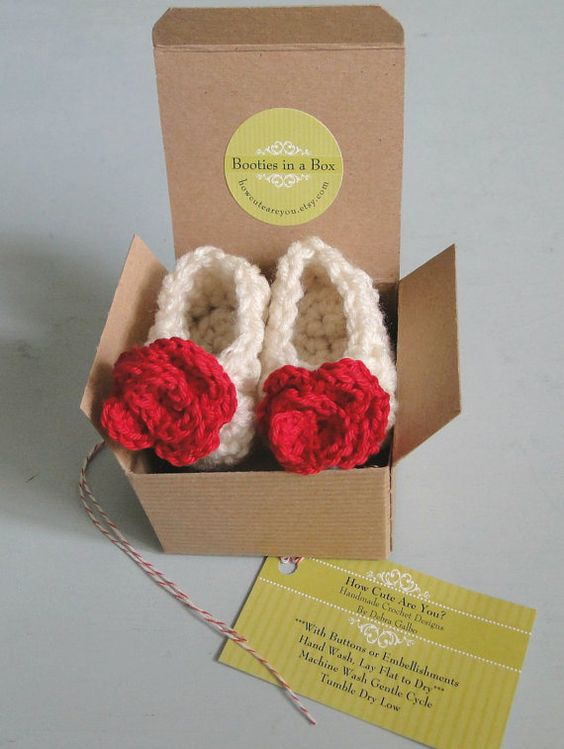 Ruby Red Flowers Newborn Baby Girl Booties Infant by HowCuteAreYou, $17.50