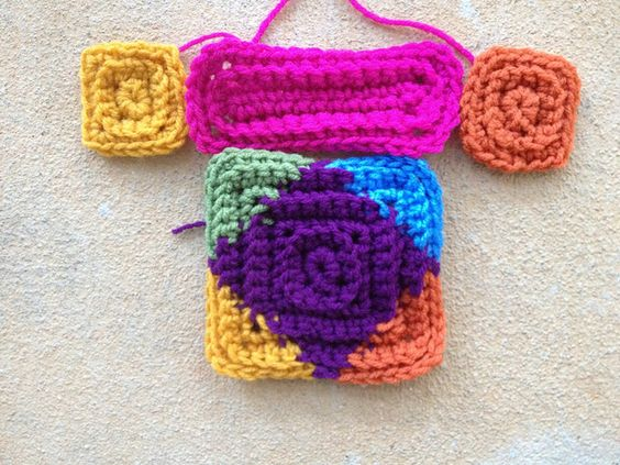 Textured crochet square and rectangle motifs, crocheted, crocheting, crochetbug, crochet squares, multicolor, rainbow