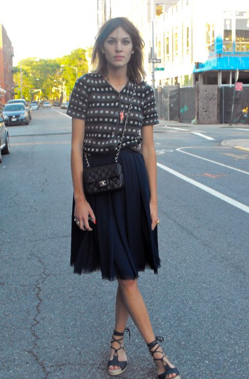 Alexa Chung street style in Brooklyn, New York.
