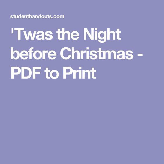 'Twas the Night before Christmas - PDF to Print