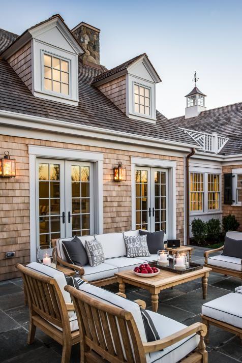 Cedar shingles, dormers, Chippendale rail, patio