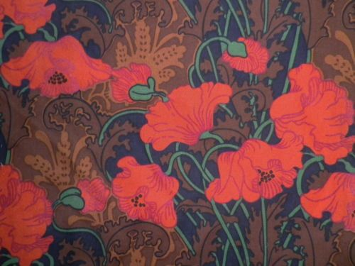 Vintage Liberty Cotton Fabric Interiors Fabric Offcut 'Clementina' Red Poppies | eBay
