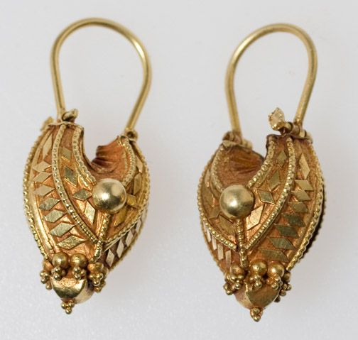India | Contemporary 18k gold earrings; hollow form done in the old Indian style.