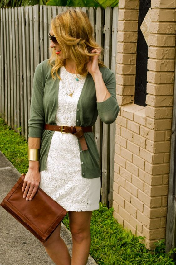 White lace dress, colored cardigan, brown accessories. Great way to take your summer dress into fall!