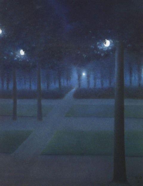 """mudwerks: """" (via THE BLUE LANTERN: Late Hours: William Degouve de Nuncques) """" William Degouve de Nuncques - Nocturne au Parc Royale - Bruxelles, 1897, Musee d'Orsay, Paris. """" """""""