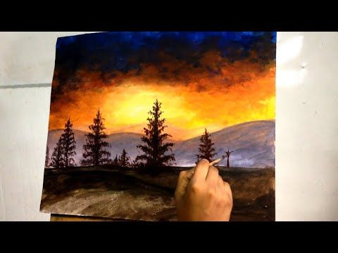 Easy Sunset Painting In Acrylic Acrylic Painting Tutorial For