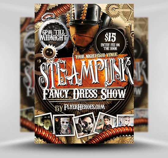 Free steampunk flyer template psd photoshop flyer template flyerheroes steampunk free for Flyerheroes free