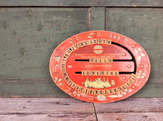 Vintage/Antique Richmond Educational Spelling Board Letters and Numbers.  Misinterpreted on Etsy