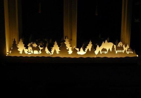 Christmas window decorations crafts  This would look nice on top of an upright piano as well.