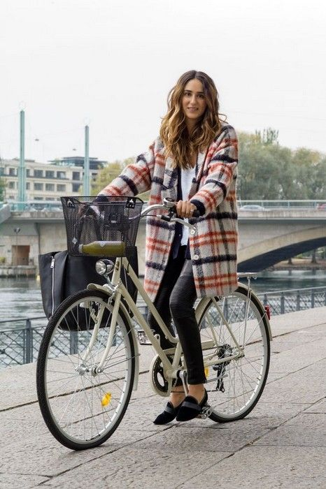 statement coats cute plaid coat riding bike