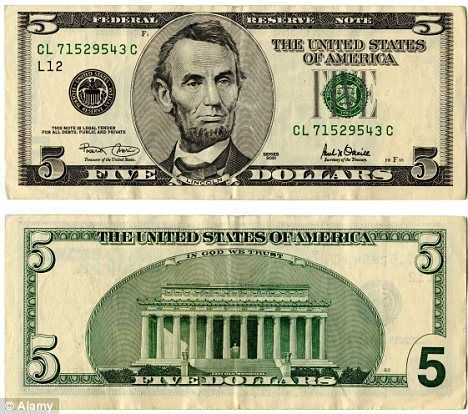 Image result for five dollar bill image