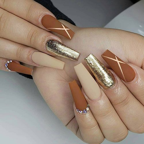 Chrome Matte Coffin Nails In 2020 Coffin Nails Matte Pretty Acrylic Nails Fall Acrylic Nails
