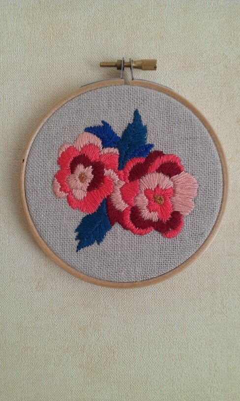 Embroidery flower hoop art