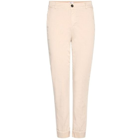7 For All Mankind Cropped Cotton Chinos (€190) ❤ liked on Polyvore featuring pants, capris, beige, chinos pants, beige pants, pink chino pants, 7 for all mankind and pink pants