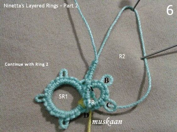 An easy way to make Ninetta's Layered Rings using modern techniques on Dillmont's motifs. Extending the idea & pattern to 3D tatting.