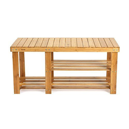 Ollieroo 2 Tier Natural Bamboo Shoe Rack Organizer And Foot Stool With Storage Drawer On Top Shoe Rack Bench Bamboo Shoe Rack Bamboo Shelf