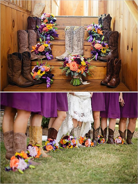 purple bridesmaids dresses paired with cowboy boots #weddingchicks: